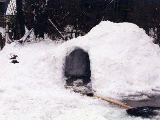 Sie benötigen Schneeschaufel, Schneesäge und Geduld